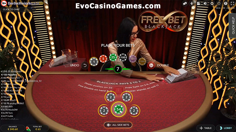 Play Live Dealer Free Bet Blackjack